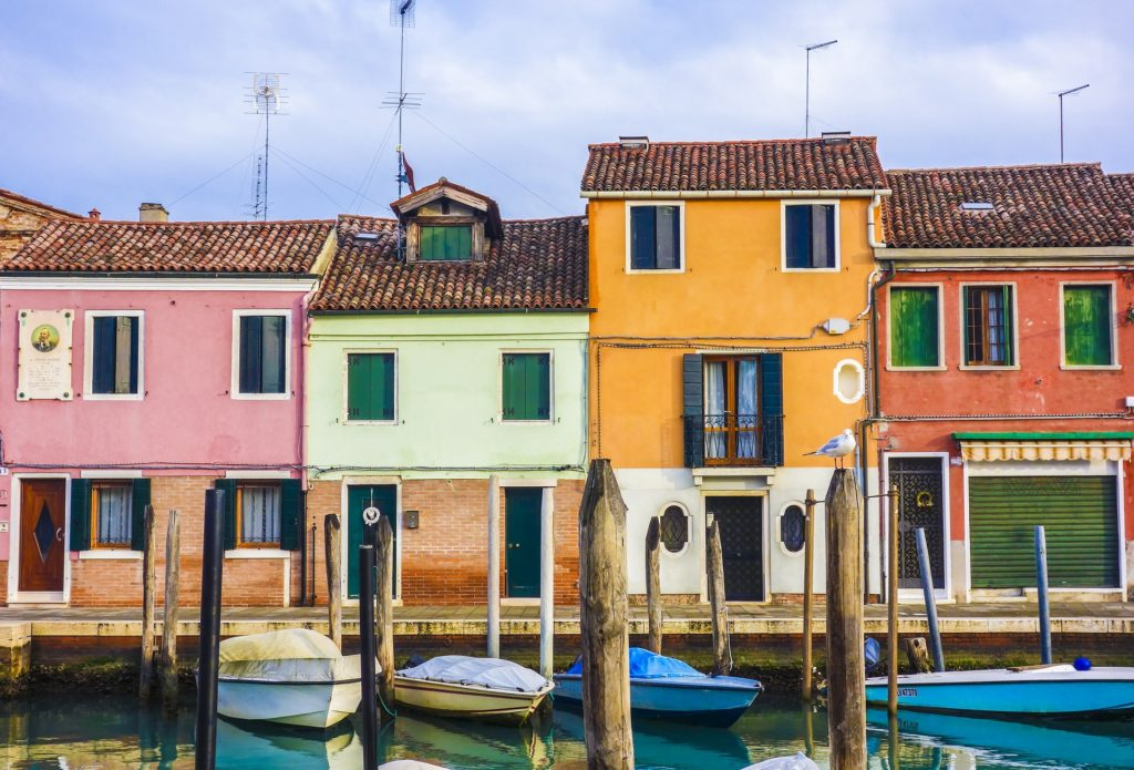 Colorful houses in Murano, Venice, Italy