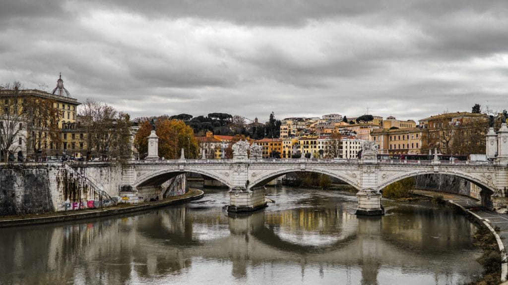 View of Trastevere across the Riber in Rome