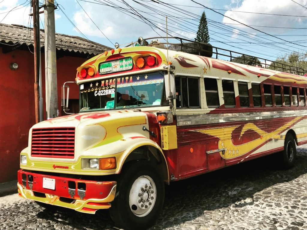 Colorful bus in Antigua Guatemala