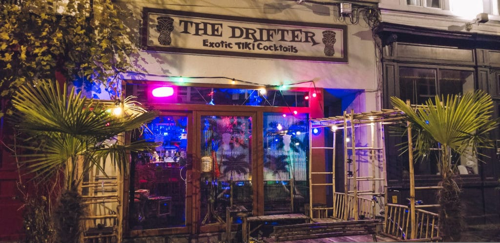 The entrance of The Drifter Tiki Bar in Ghent, Belgium