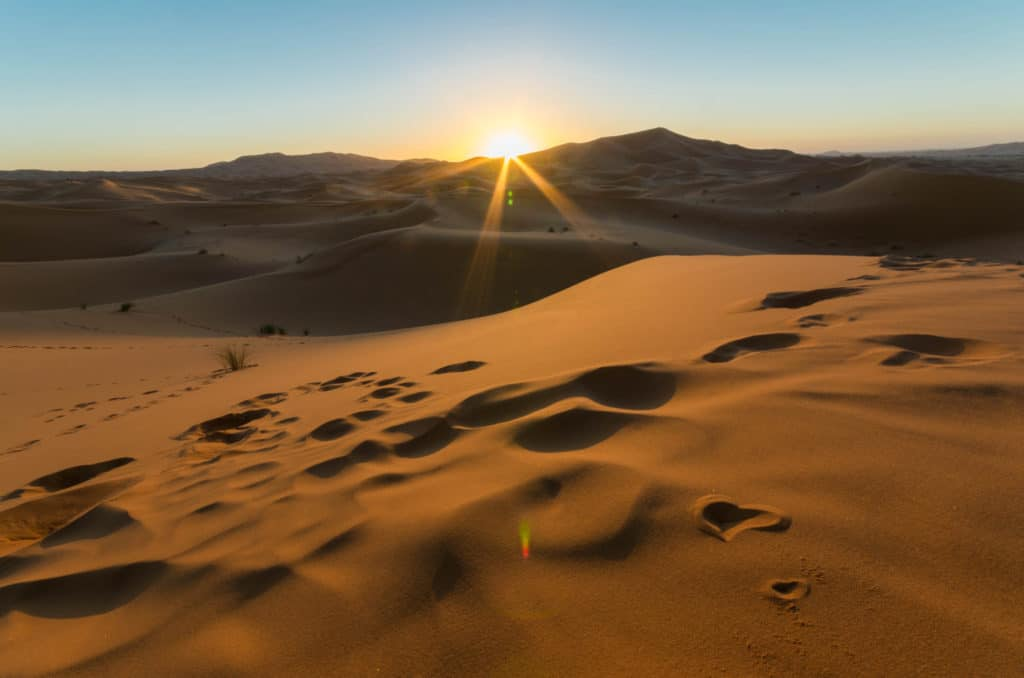 Sunrise in the Sahara desert, Morocco