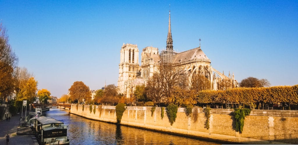 View of back of Notre Dame Cathedral in Paris
