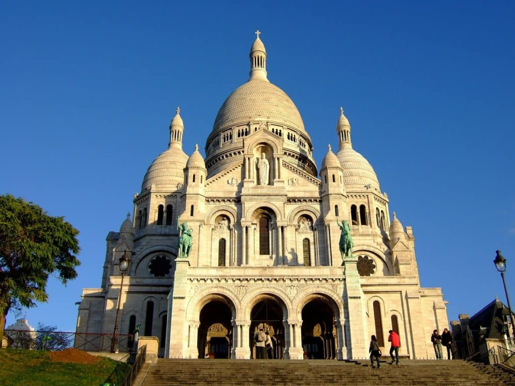 view of the Sacre Coeur from the stairs below