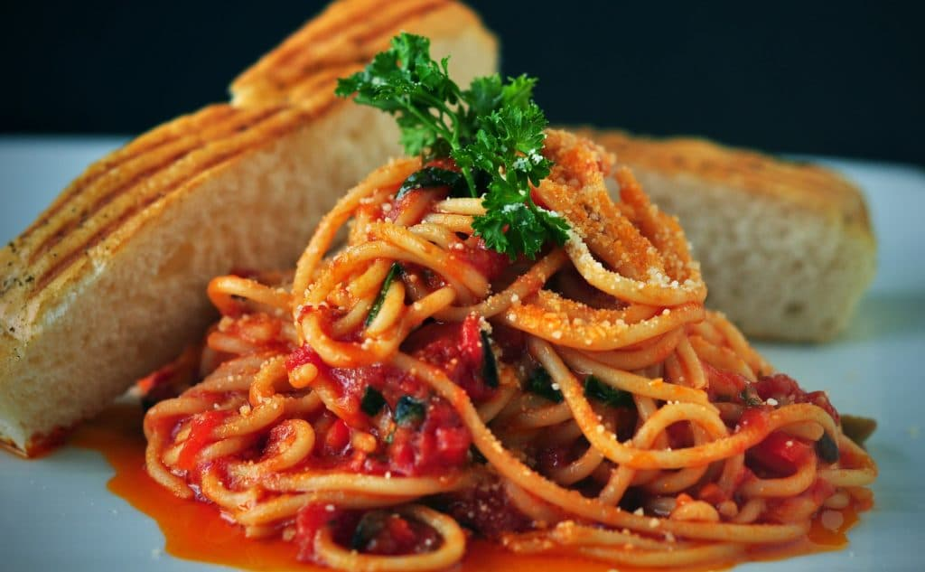 Plate of pasta with bread
