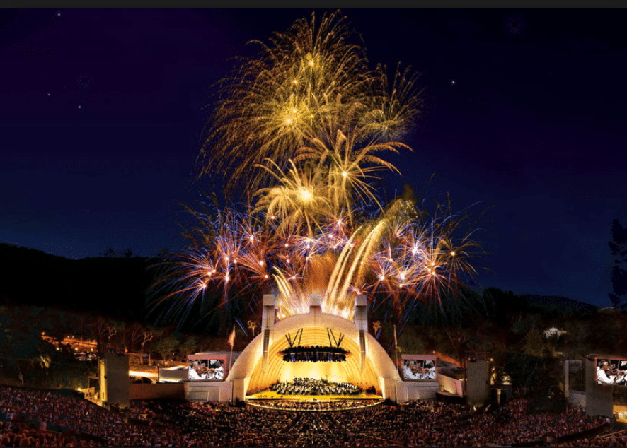 fireworks at the Hollywood Bowl