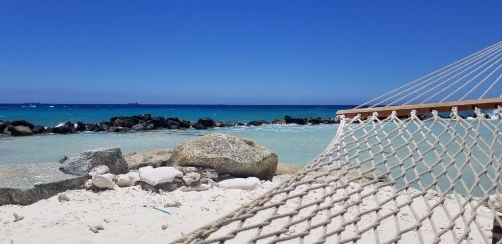 View from hammock on Renaissance Island, ARuba