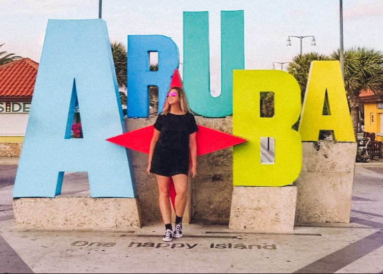 Aruba sign near Oranjestad