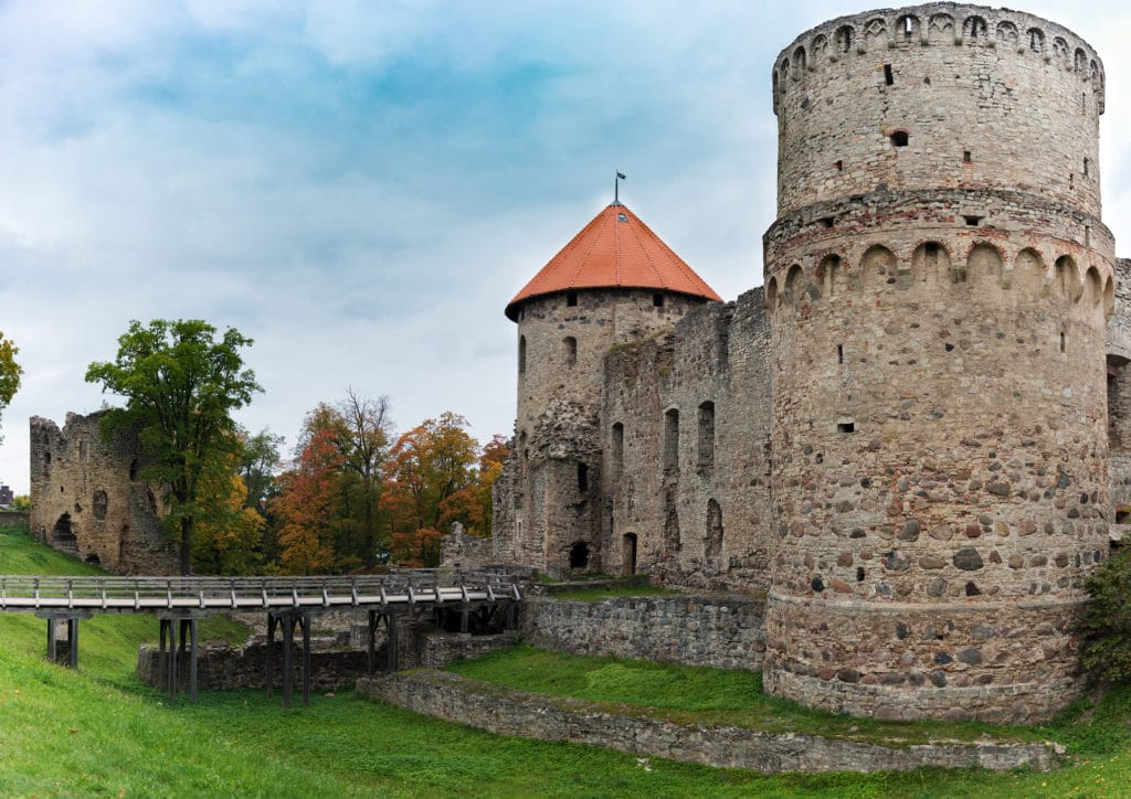 Medieval castle ruins in Cesis, Latvia