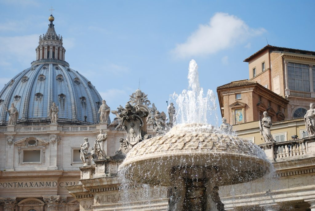 Photo of fountain in front of St. Peter's Basilica
