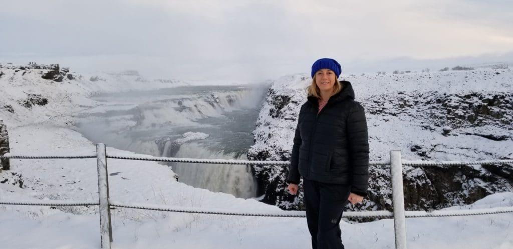 Eden Fite at Gullfoss in Iceland