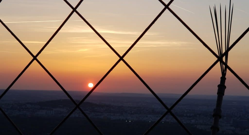 Sunset from the upped deck of the Eiffel Tower