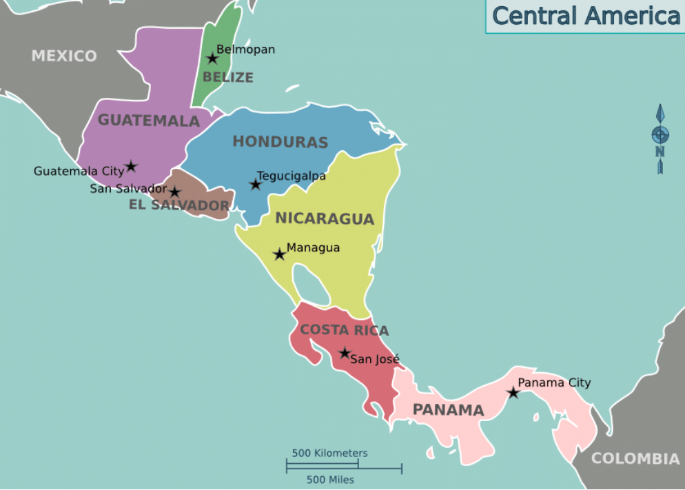 Countries in Central America
