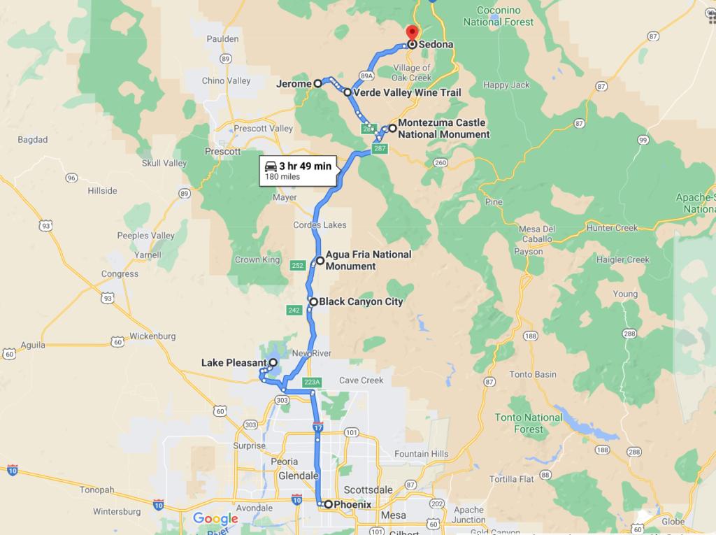 Phoenix to Sedona drive route